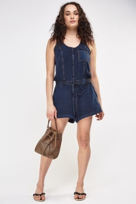 Denim Sleeveless Playsuit