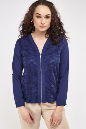 Lace Insert Zipped Jacket