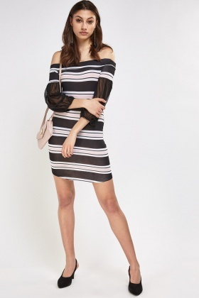 Mesh Sleeve Striped Off Shoulder Dress
