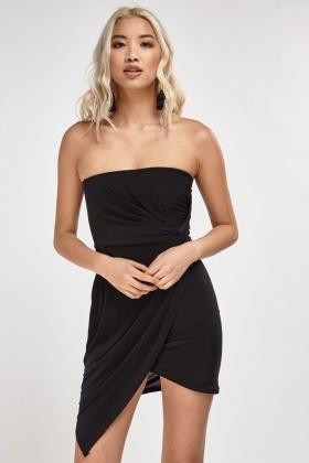 Twisted Wrap Bandeau Dress Olive Or Dark Orange Just 163 5