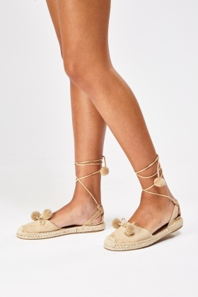 Pom Pom Espadrille Tie Up Sandals