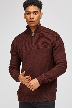 Chunky Knit Zip Neck Jumper