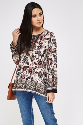 Embroidered Front Printed Top