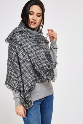 Fringed Trim Knitted Speckled Scarf