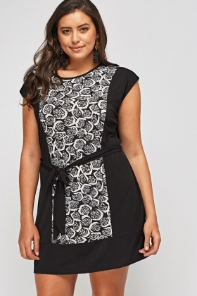 Printed Panel Tie Up Dress