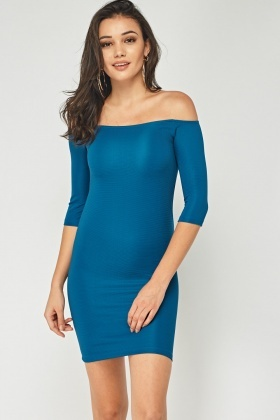 Ribbed Off Shoulder Dress