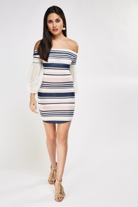 Striped Mesh Sleeve Off Shoulder Dress