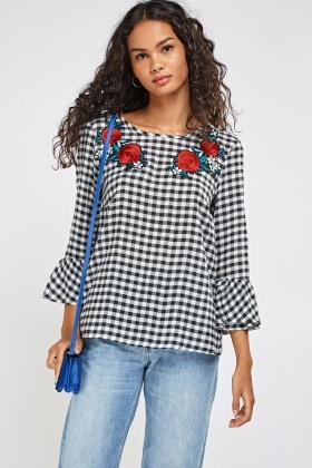 Checked Applique Top