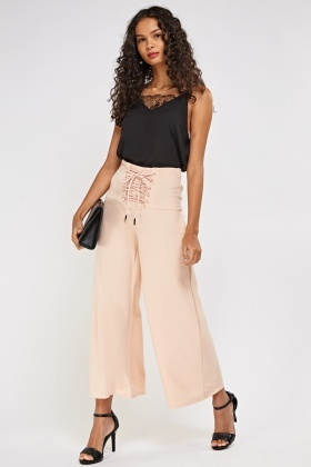 High Waist Lace Up Wide Leg Trousers