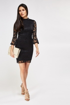 Lace Overlay Cut Out Back Dress