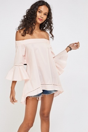 Laser Cut Trim Flare Off Shoulder Top