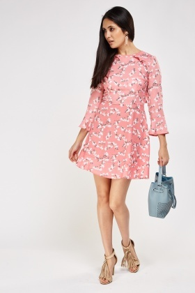 Printed Frilled Trim Swing Dress