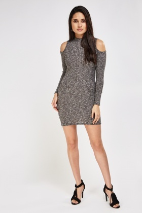 Speckled Cut Out Shoulder Knitted Dress