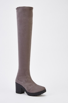 Suedette Block Heel Knee High Boots