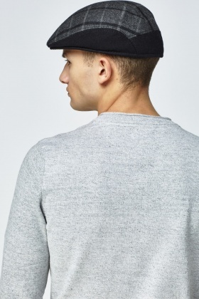 7b3ecb8d63e Dark Grey Checked Flat Cap - Just £5