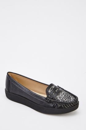 Glittered Front Moccasin Shoes