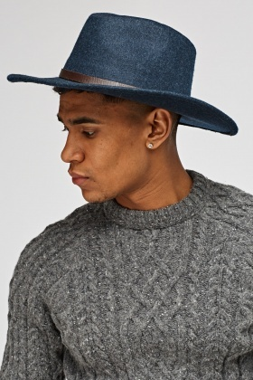 Mens Detailed Trim Panama Hat