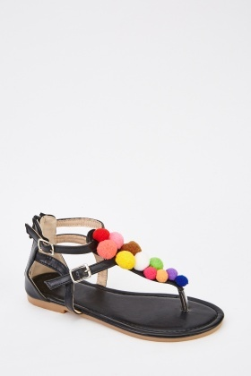 Multi Pom Pom Strappy Sandals