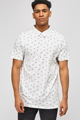 Palm Tree White Polo T-Shirt
