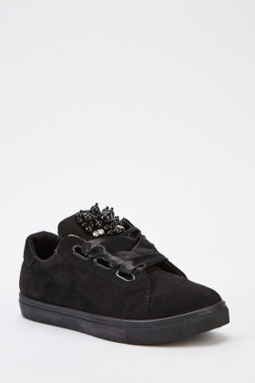 Sateen Lace Up Suedette Trainers