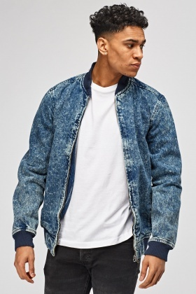 Ribbed Trim Denim Jacket