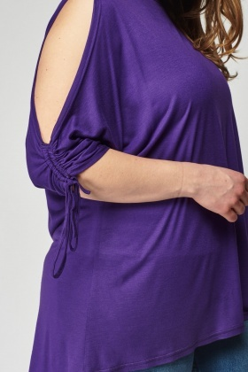 Cut Out Shoulder Ruched Sleeve Top