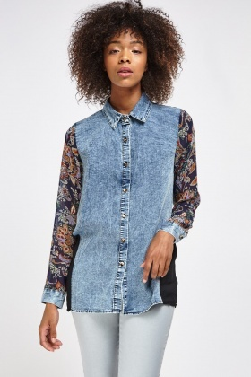 Denim Contrast Printed Sheer Shirt