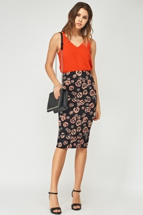 Floral Textured Pencil Skirt