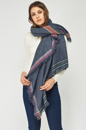 Frayed Trim Soft Knit Scarf