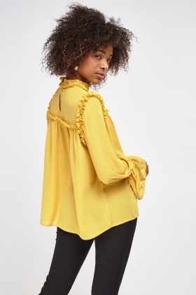 Frilled Trim High Neck Blouse