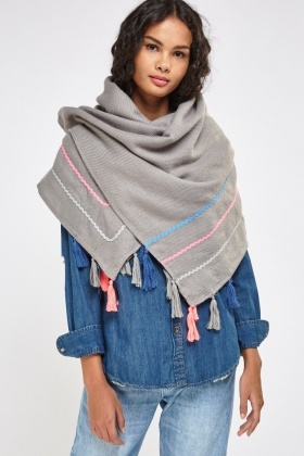 Grey Tasseled Trim Scarf