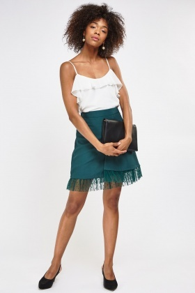 Lace Trim Wrap Front Skirt