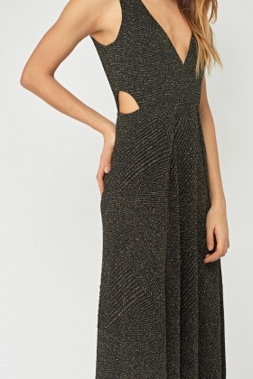 Metallic Insert Plunge Maxi Dress