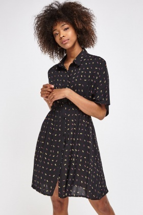 Motorcycle Print Shirt Dress