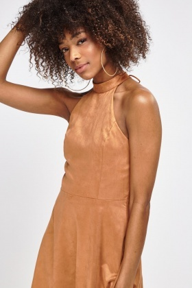 Suedette Lace Up Back Dress
