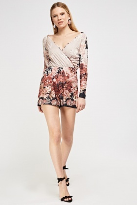 Wrapped Printed Playsuit