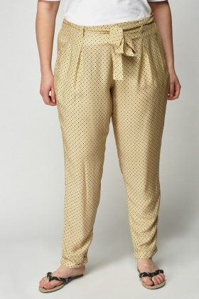 Yellow Print Light Weight Trousers