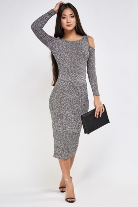 Cut Out Shoulder Ribbed Dress