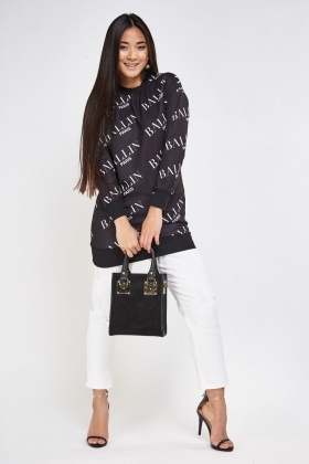 Letter Print Long Sleeve Sweater