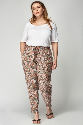 Mixed Print Light Weight Casual Trousers