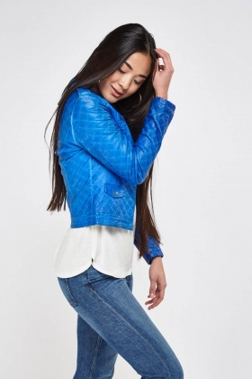 Padded Faux Leather Jacket