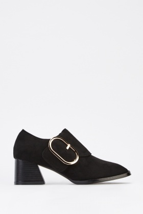 Detailed Front Suedette Block Heel Shoes