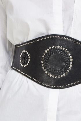 Embellished Faux Leather Wide Belt