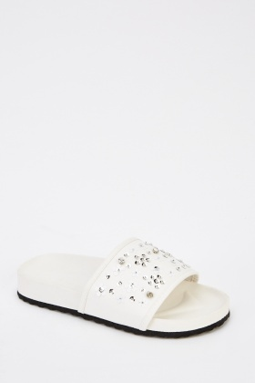 Embellished Flower Faux Leather Sliders