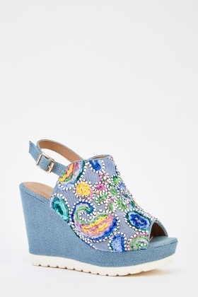 Embroidered Wedge Denim Sandals