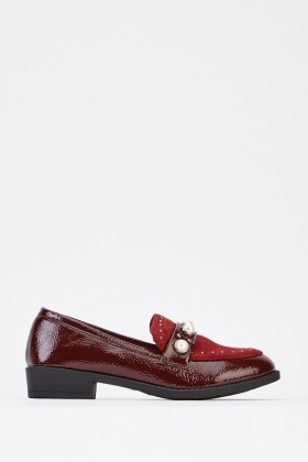 Faux Pearl Detail Contrast Loafers