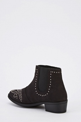 Girls Black Suedette Ankle Boots