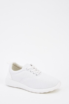 Lace Up Textured Low Top Trainers