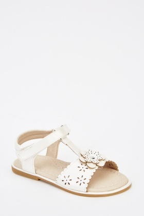 Laser Cut Faux Leather Girls Sandals