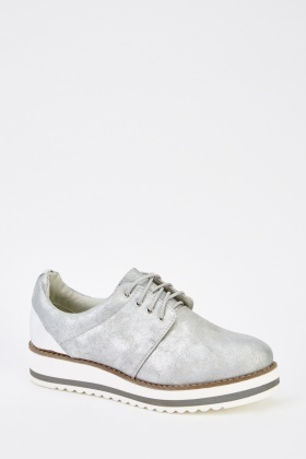 Metallic Brushed Faux Leather Shoes